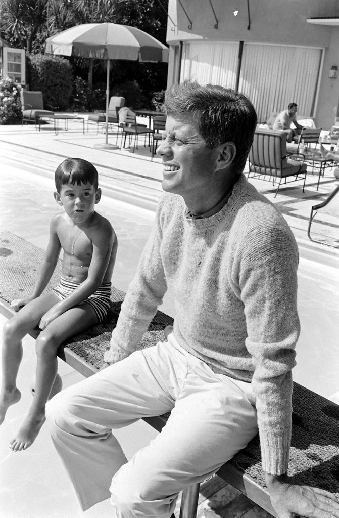 John F. Kennedy and unidentified boy, 1960.