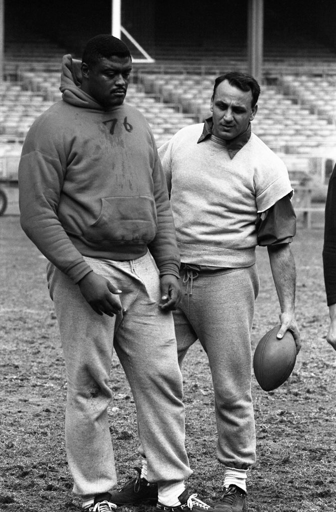 Rosey Grier and Andy Robustelli, Yankee Stadium, 1960.
