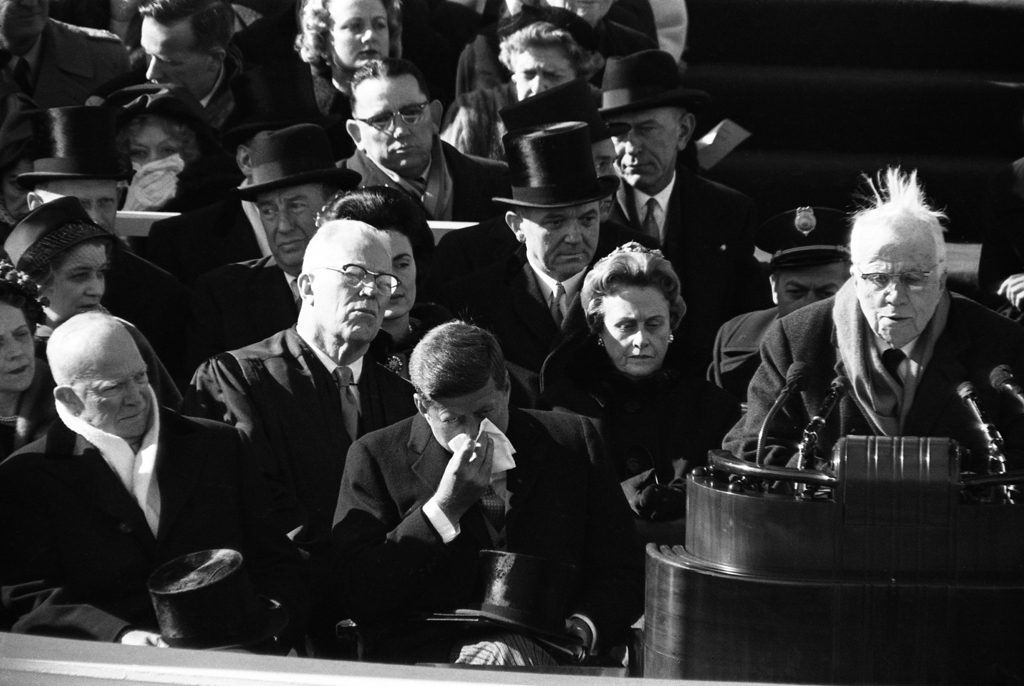 Robert Frost reads a poem at John Kennedy's inauguration.