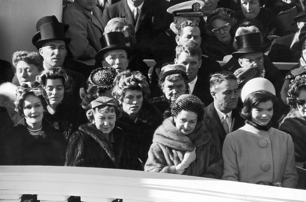 Pat Nixon, Mamie Eisenhower, Lady Bird Johnson, and Jacqueline Kennedy stand during the Inauguration