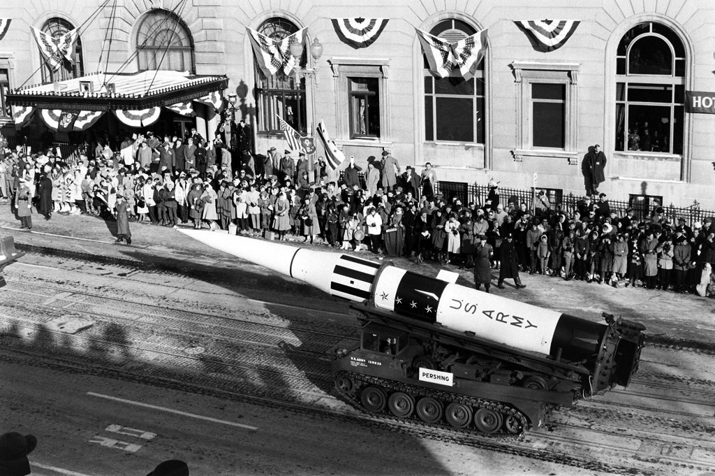 The pershing medium-range ballistic missile made its first appearance during the Inauguration parade.