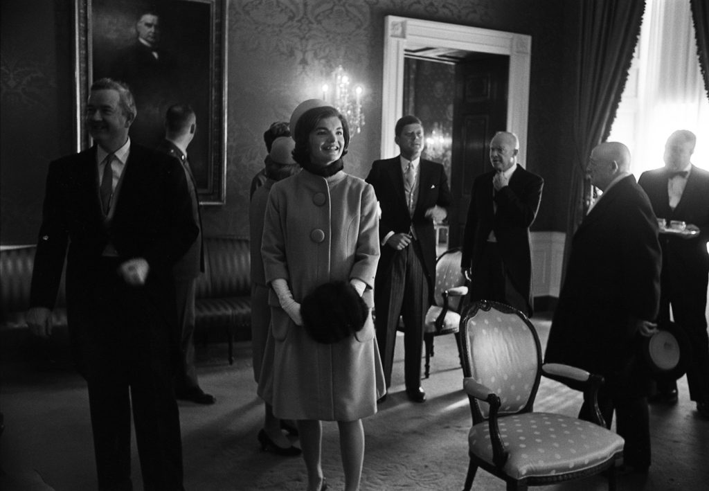 John and Jackie Kennedy, Dwight Eisenhower, and Others prepare at the White House for the inauguration.