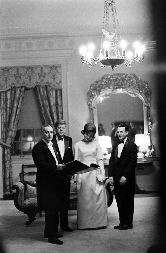 John and Jackie Kennedy dressed in formal wear on the evening before the inauguration.