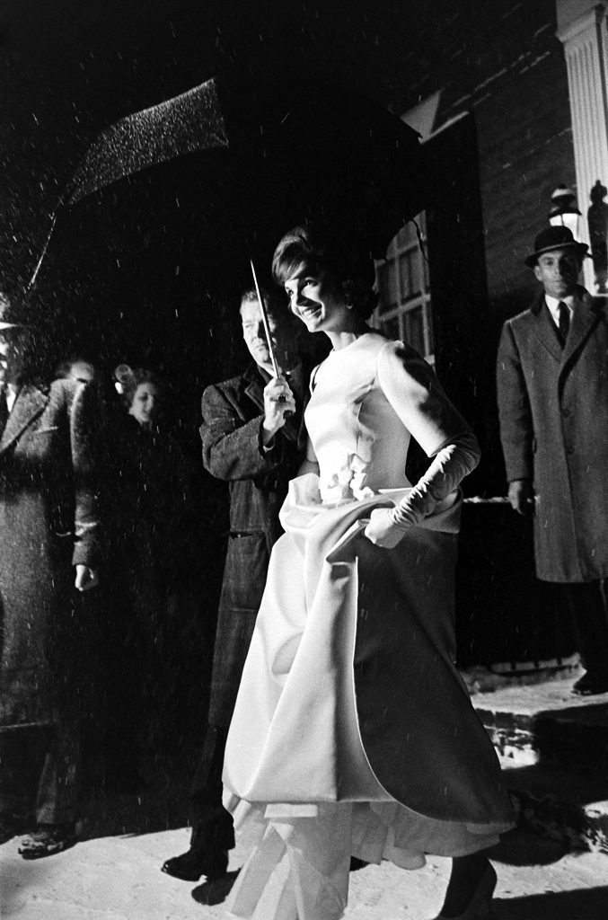 Jackie Kennedy attends her husband's Inaugural Gala during a snowstorm in Washington, D.C.