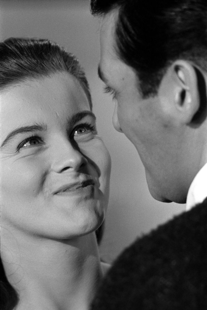Ann-Margret face-to-face with actor David Hedison, 1961.