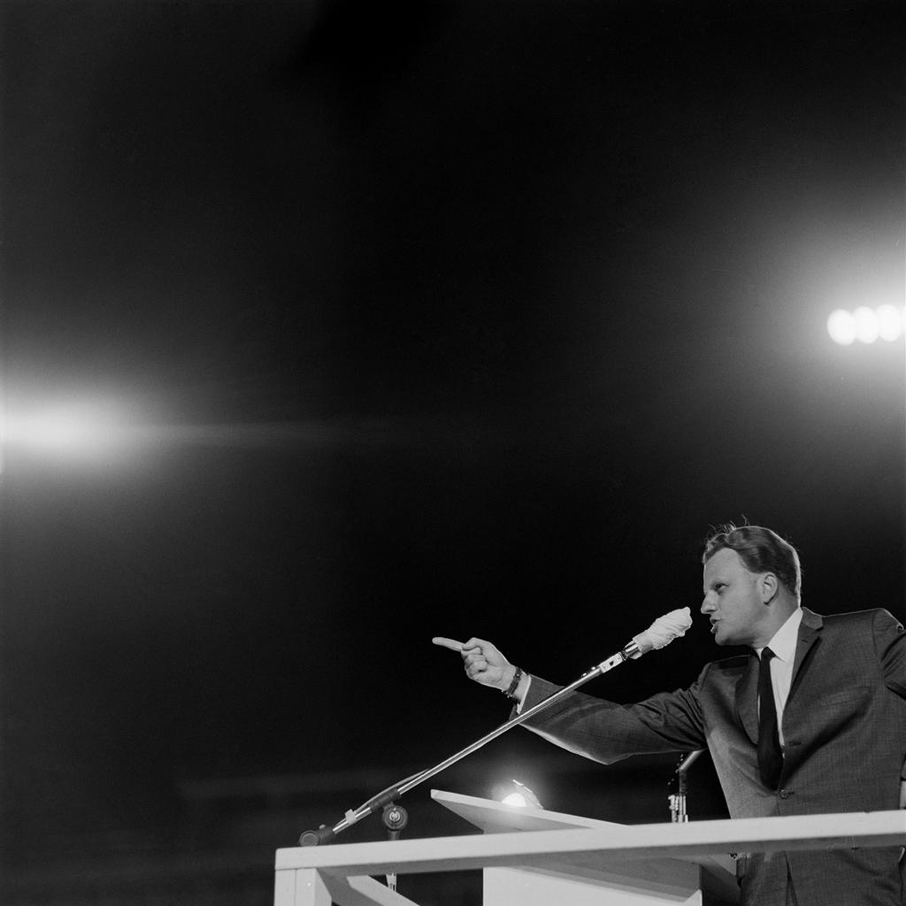 Billy Graham preaches in Little Rock, Arkansas, in 1959.