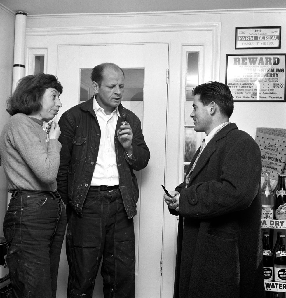 At Daniel Miller's general store in Springs, New York, Lee Krasner and Jackson Pollock talk with Tino Nivola, a new arrival at the artist colony that began to sprout around the Pollocks' Long Island village in the late 1940s.