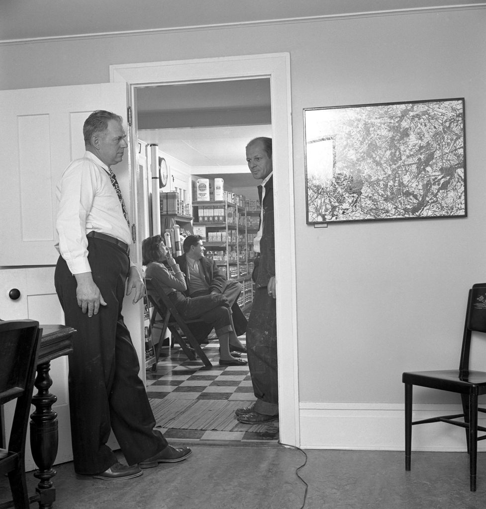 Grocer Daniel Miller (left) visits Pollock and Krasner at their Long Island farmhouse, 1949.