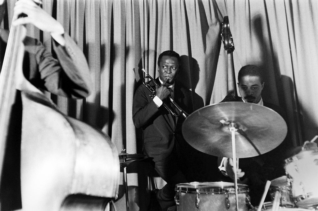 Miles Davis plays with his sextet in New York in 1958.