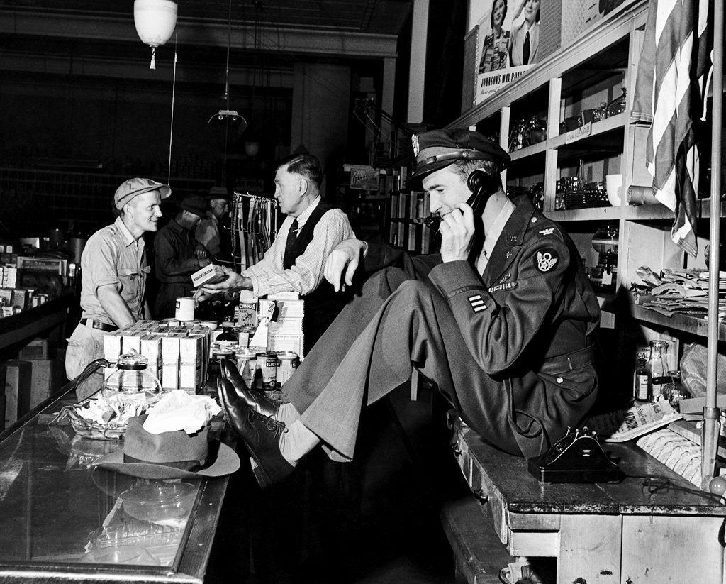 Jimmy Stewart on the phone, 1945