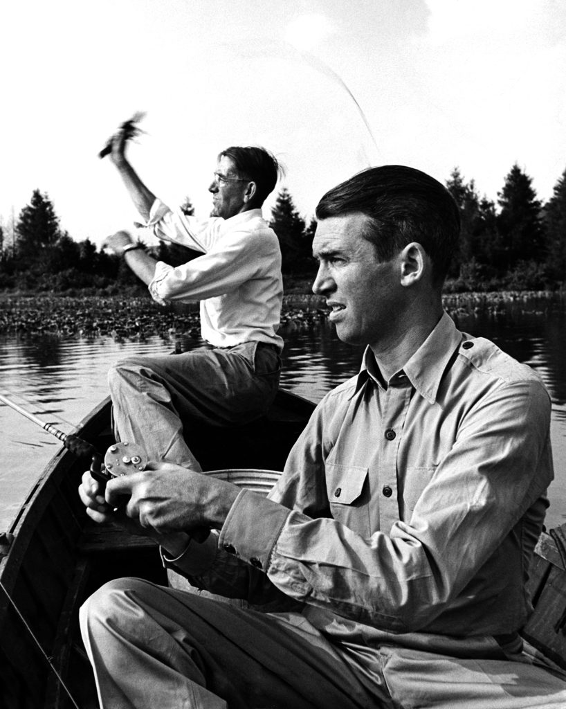 Jimmy Stewart goes fishing, 1945
