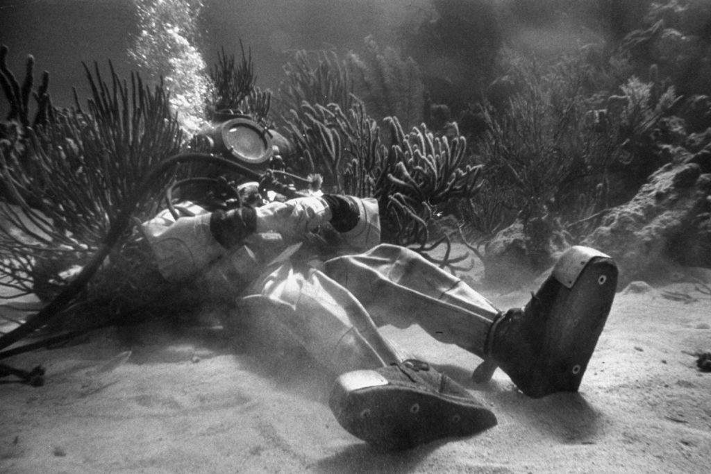 """Frank Higgins takes a nap during production of """"20,000 Leagues Under the Sea"""" in 1952."""