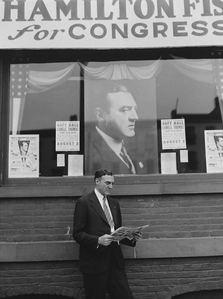 Hamilton Fish, a Republican Congressman from New York who served 25 years in the House, stands before his likeness in the midst of a campaign.