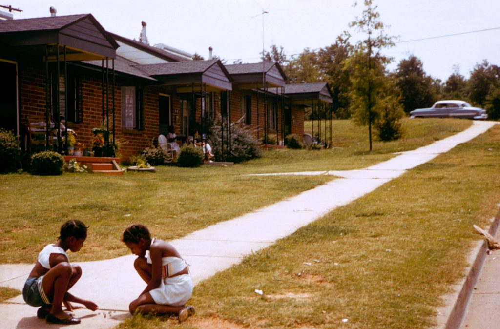 Children play in a segregated neighborhood, Greenville, South Carolina, 1956.