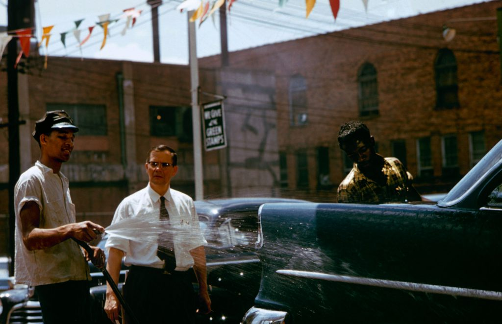 Greenville, South Carolina's mayor Kenneth Cass (above, in tie) at a car wash, 1956.