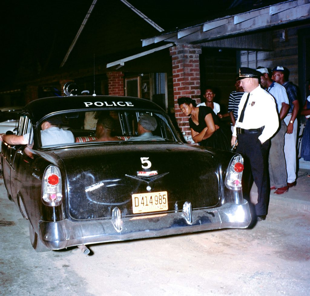 Two black men arrested for disorderly conduct in Greenville, S. Carolina, 1956.