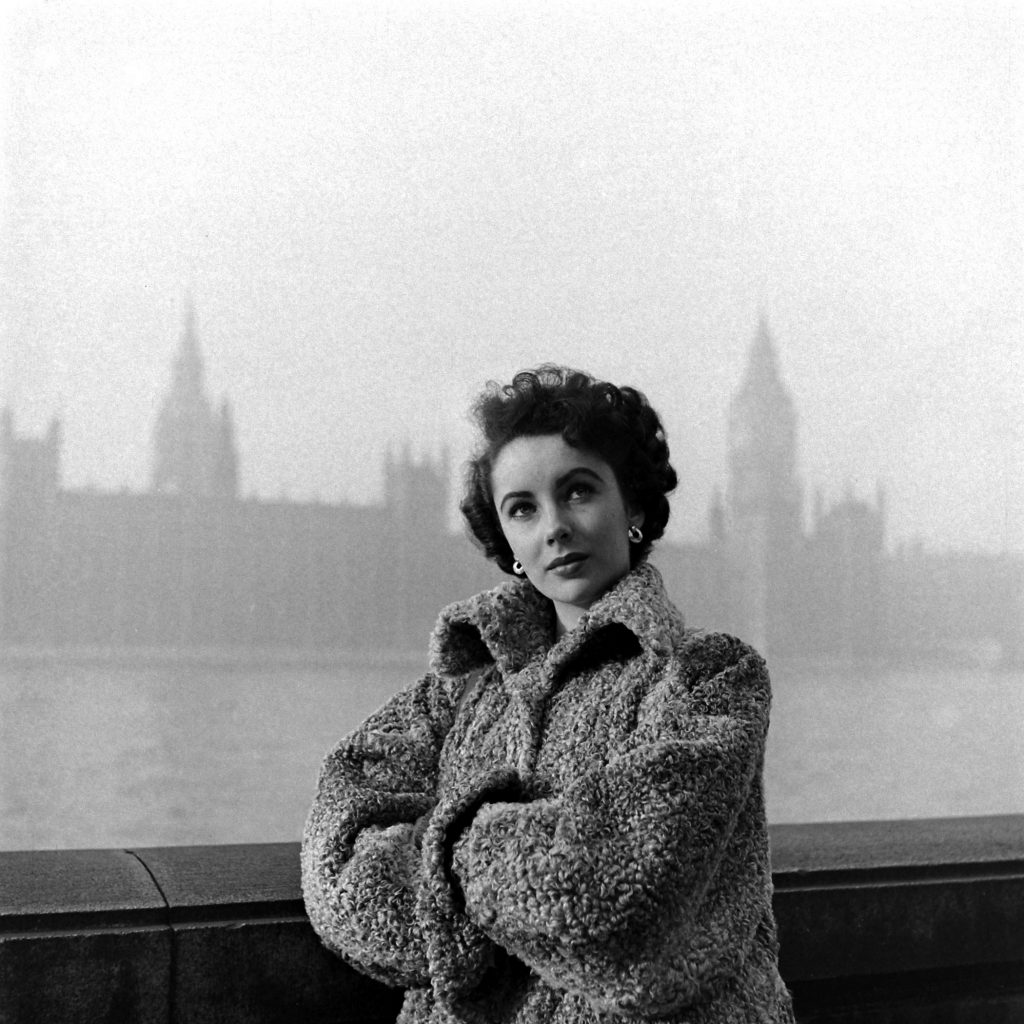 Elizabeth Taylor with West Point in the background, 1948