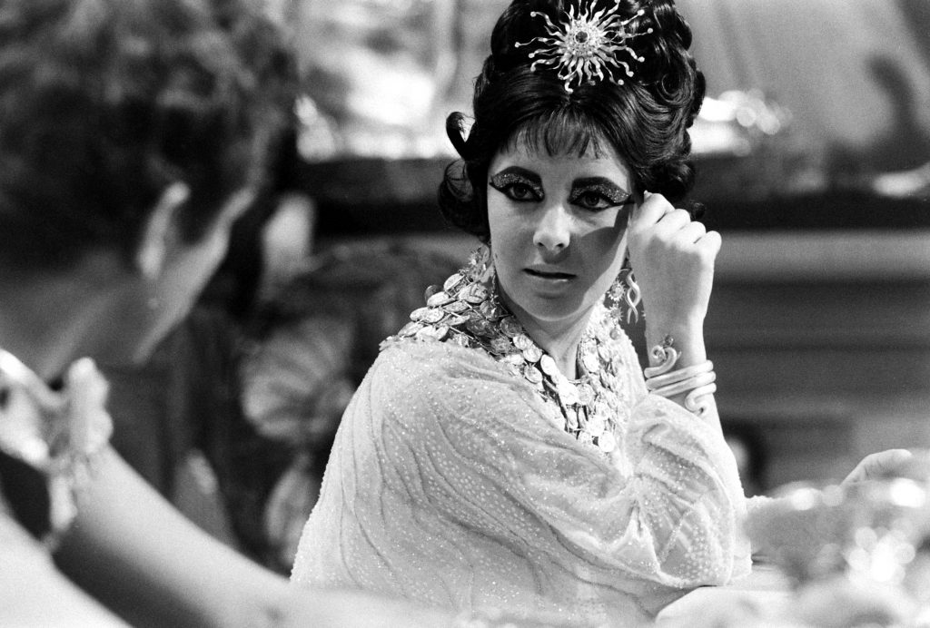 Elizabeth Taylor and Richard Burton in 1962 on the set of Cleopatra.