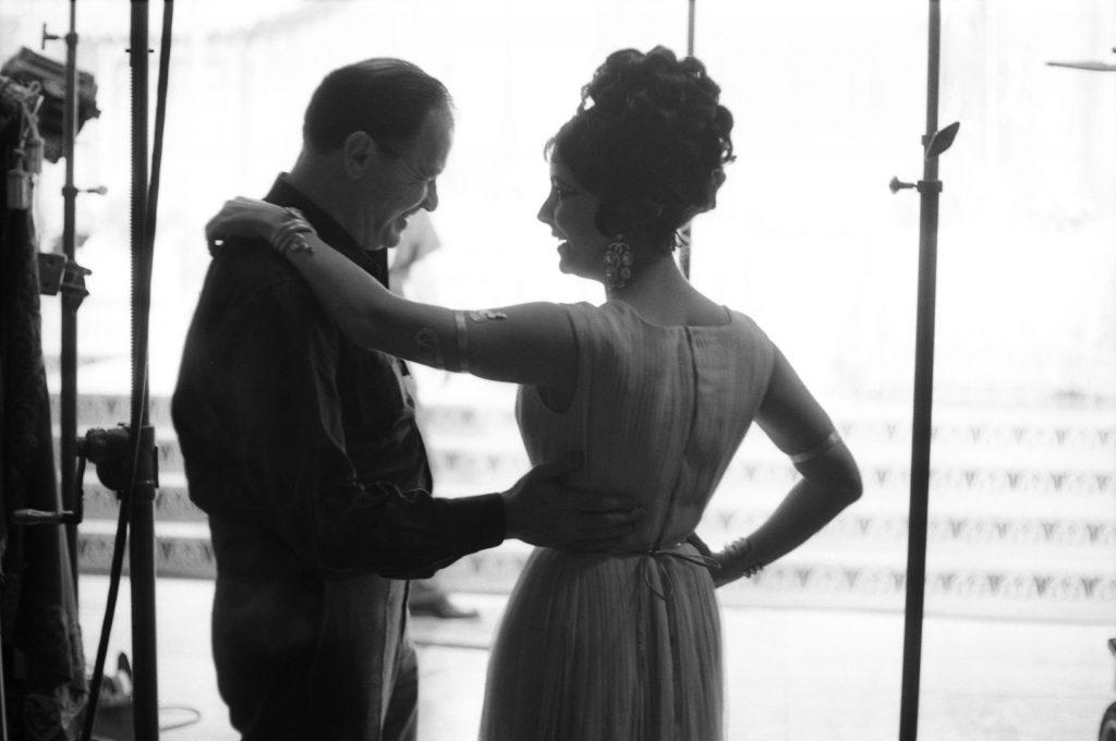 Elizabeth Taylor and Joseph L. Mankiewicz on the set of Cleopatra, 1962