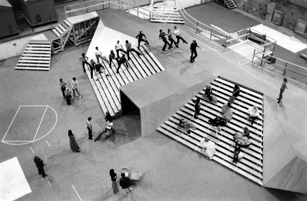 Rehearsing for a production number prior to the 1972 Academy Awards.