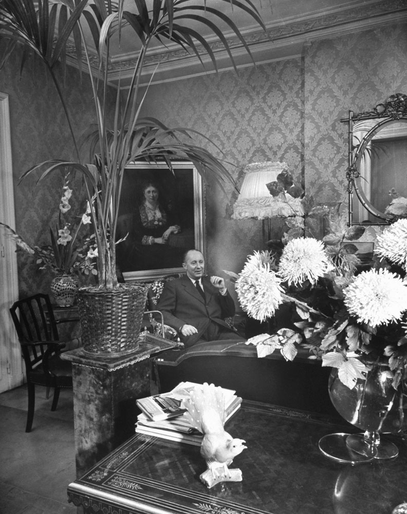 Christian Dior at home in Paris, 1948