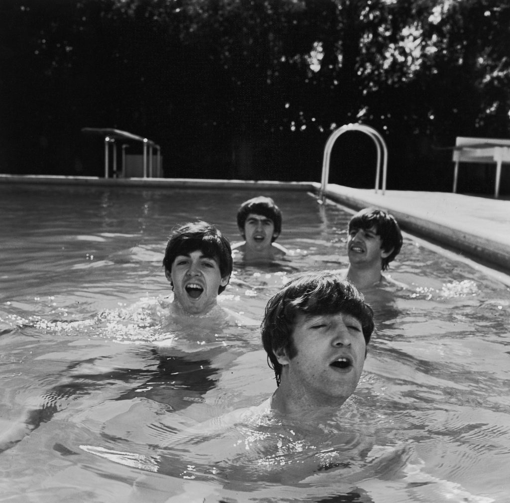 John, Paul, George and Ringo in a (very, very cold) Miami swimming pool in February 1964.