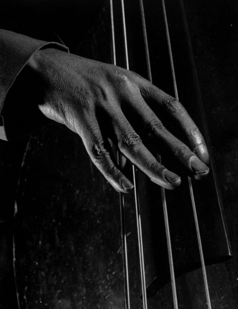 An unidentified bass player's fingers, 1943.