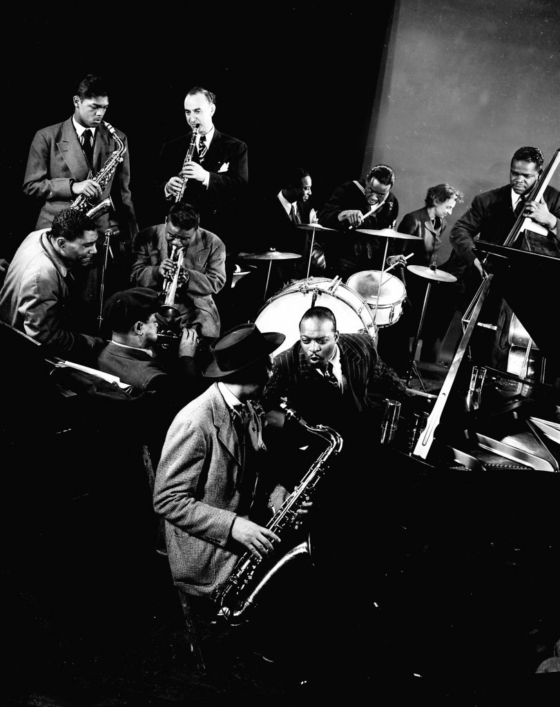 Count Basie, Lester Young, and other jazz greats at Gjon Mili's Studio in New York, 1943.