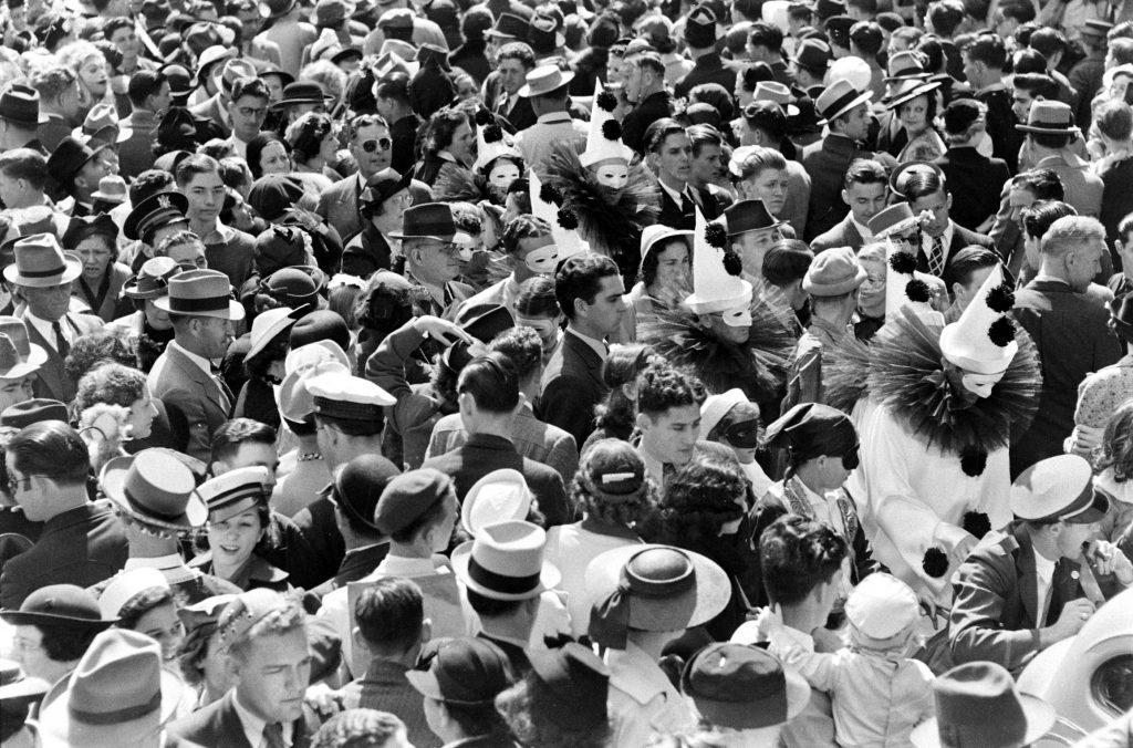 Mardi Gras crowd, New Orleans, 1938.