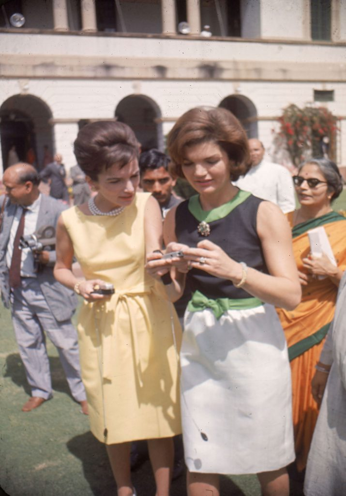 The First Lady Jackie Kennedy and sister Lee Radziwill in India in 1962. LIFE estimated Jackie wore 22 different outfits during her trip; on one day in New Delhi she changed five times.