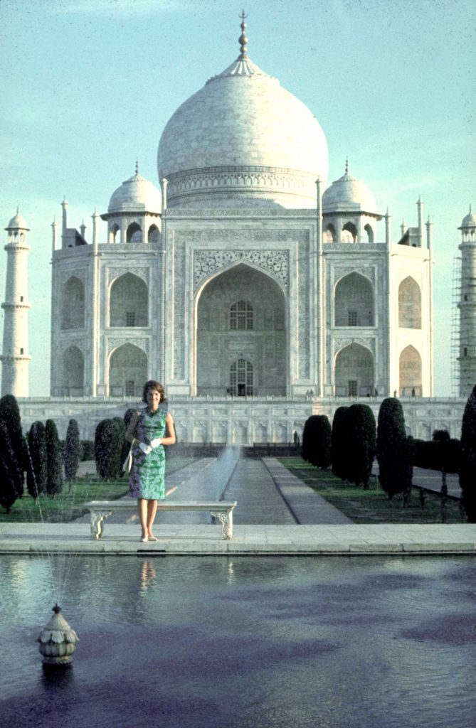The esthetic summit of Jackie's trip was her visit to the Taj Mahal. She saw it twice  once in the morning, as here, and again by moonlight, when she returned to stand in awe before its pale splendor.