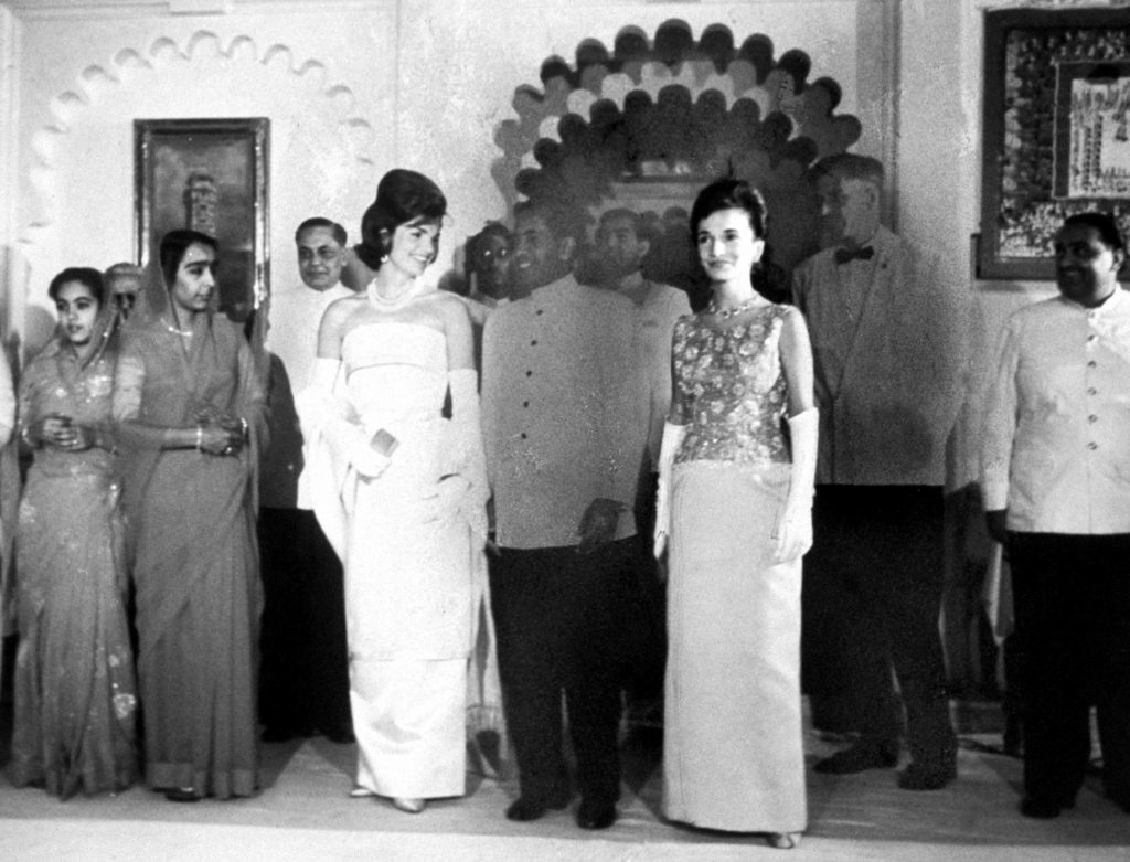 Jackie Kennedy attends a formal event in India in 1962.
