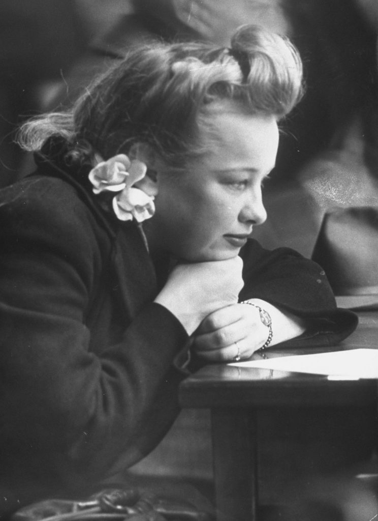 A woman at an Internal Revenue information center in New York in 1944.