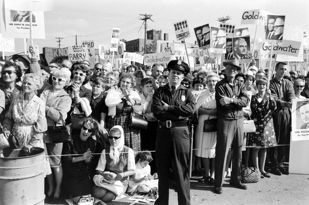 GOP Presidential candidate Barry Goldwate on campaign trail in January 1964.