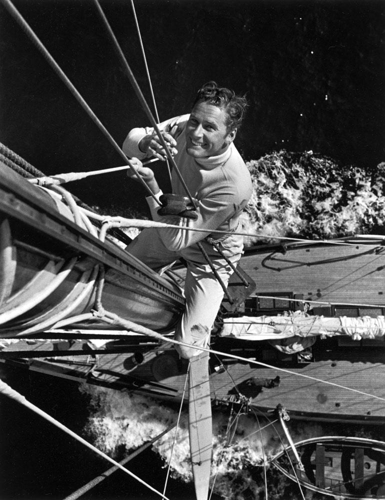 Errol Flynn aboard his yacht Sirocco in 1941