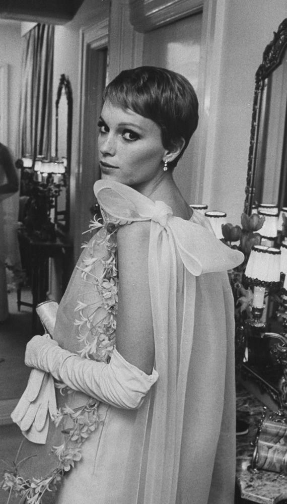 Actress Mia Farrow, a.k.a., Mrs. Frank Sinatra, in a Cardin original in New York in 1967.