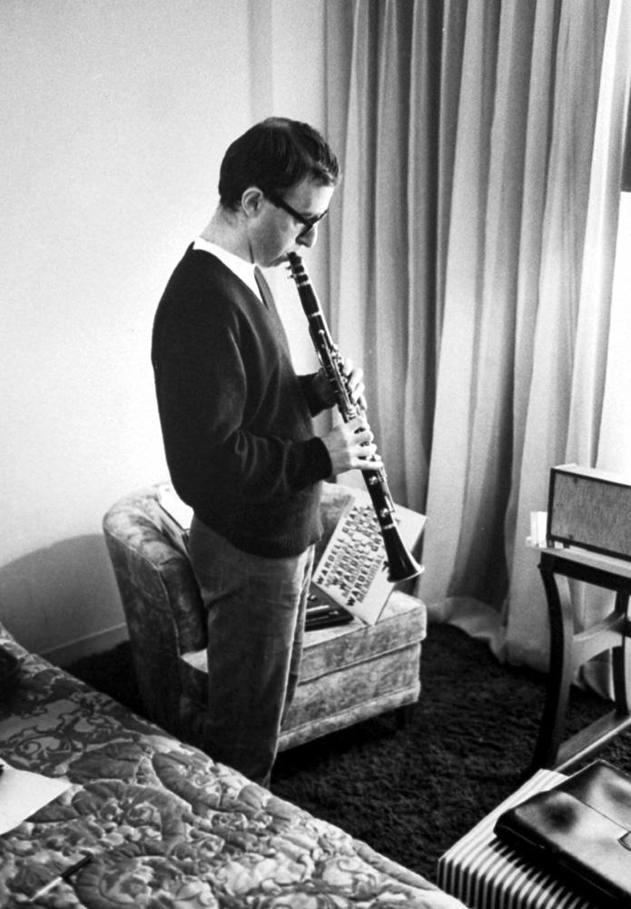 Woody Allen plays his clarinet in a Las Vegas hotel room, 1967.
