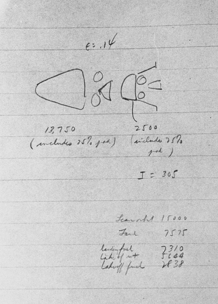 Sketch made by Dr. John C. Houbolt in 1961 for a lunar module, later adopted by NASA for Apollo 9.