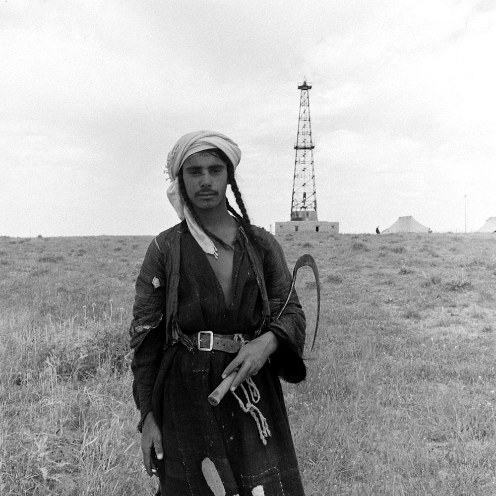 An assistant oil driller at the Asa-Jari oil field in Iran, 1945.
