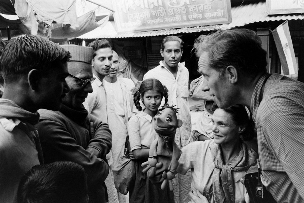 American puppeteers Bil and Cora Baird in India in 1962.