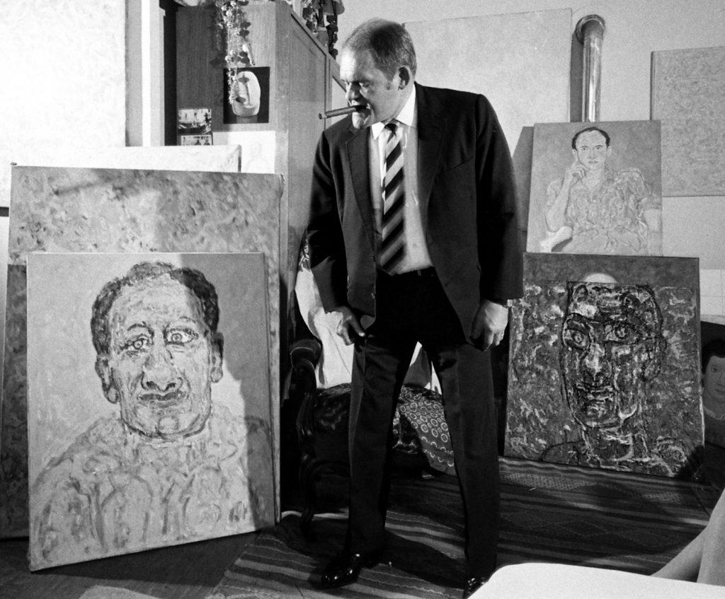 The great American novelist James Jones in his Paris home, 1967.