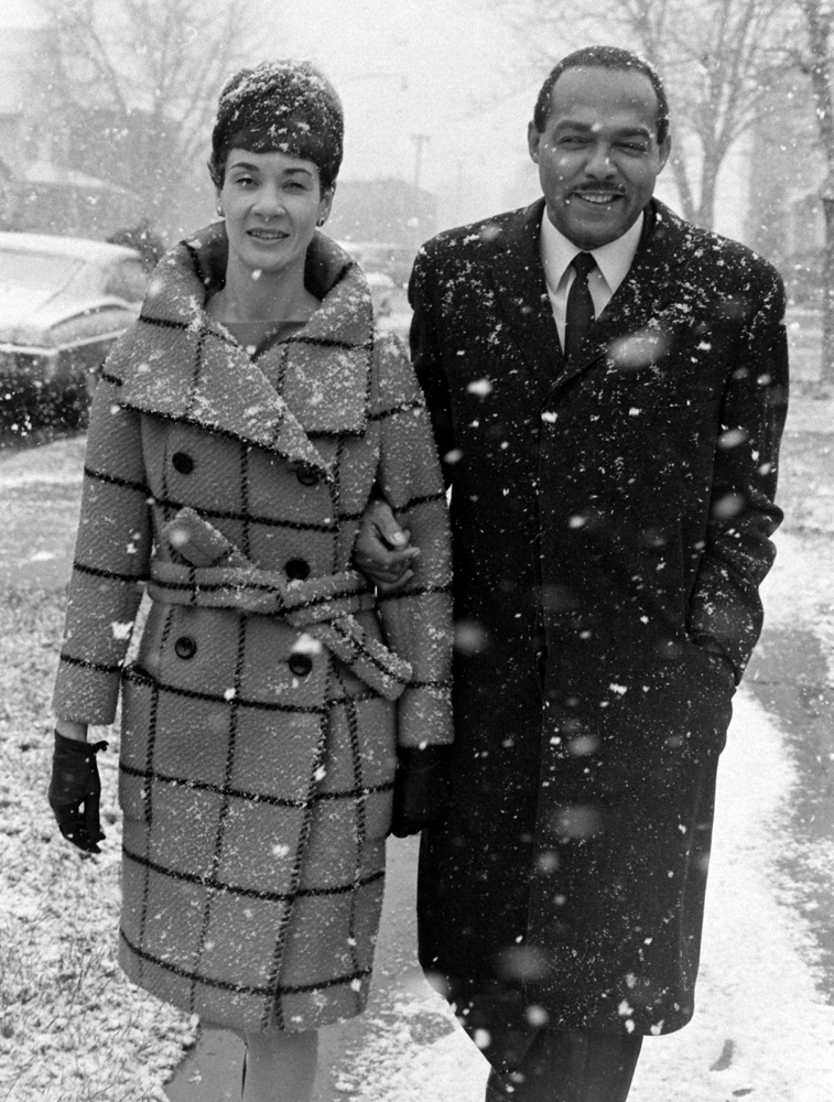 Carl and Shirley Stokes walk through the snow on their way to vote in the Cleveland mayoral race in November 1967.