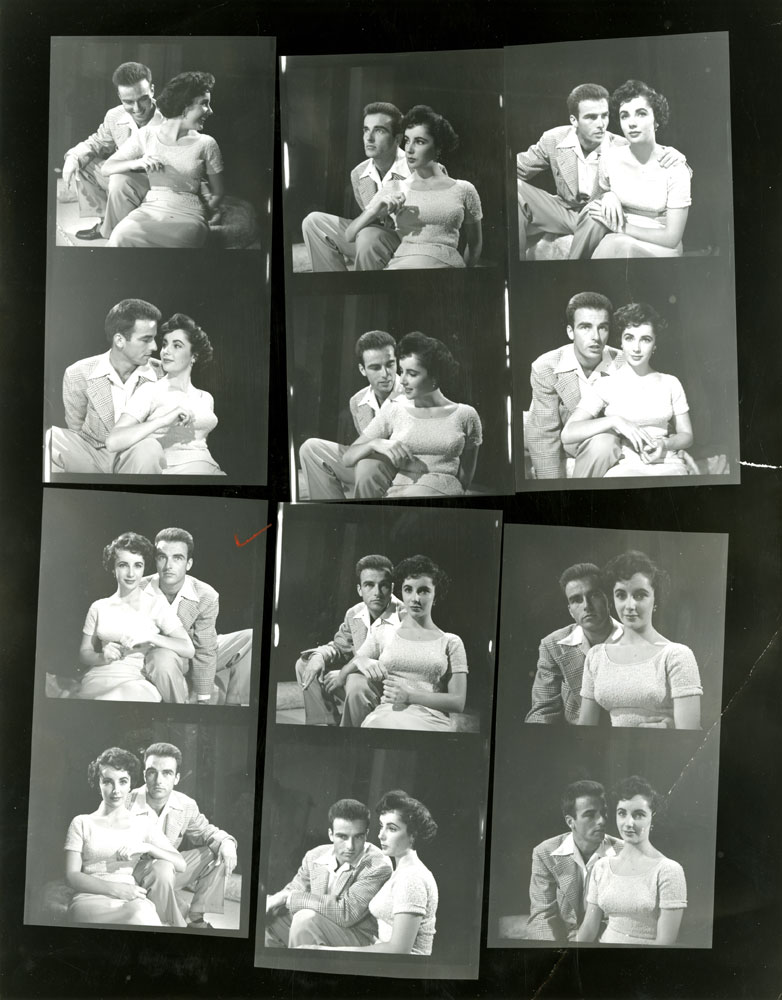 Contact sheet from LIFE photographer Peter Stackpole's shoot on a Paramount lot with Elizabeth Taylor and Montgomery Clift in 1950.