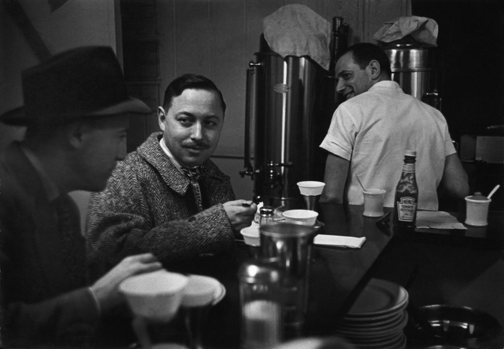 Tennessee Williams at a diner in New York in 1948
