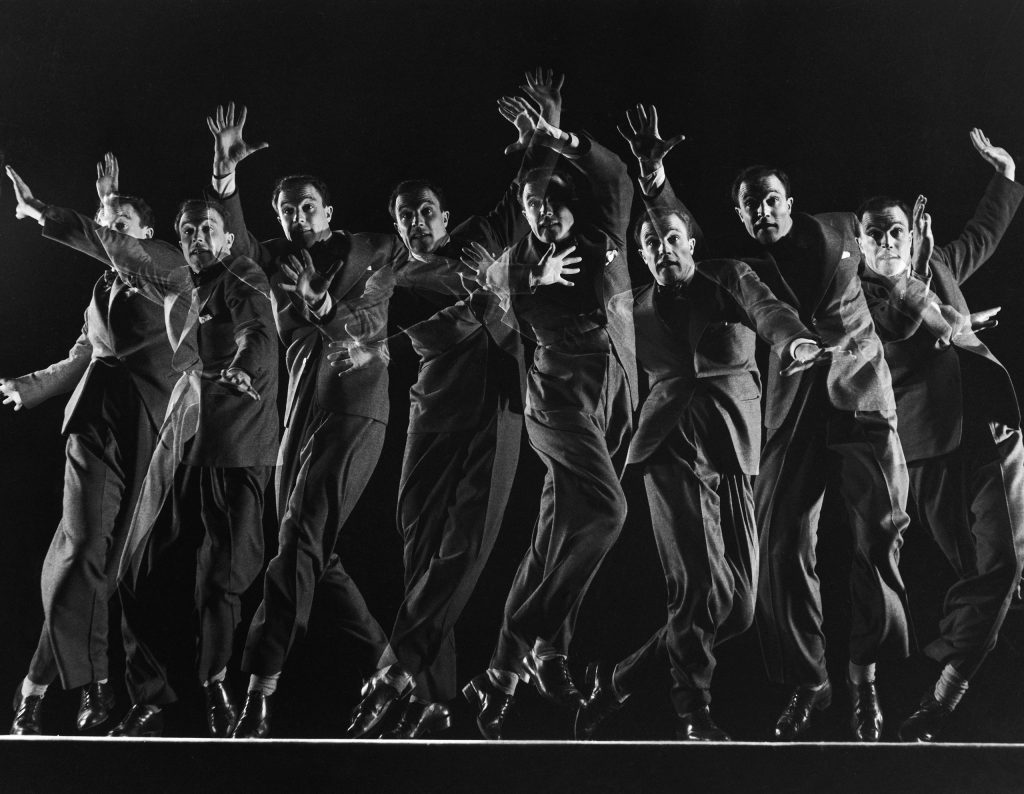 Dancer and actor Gene Kelly in a multiple-exposure dance sequence from the movie Cover Girl, 1944.