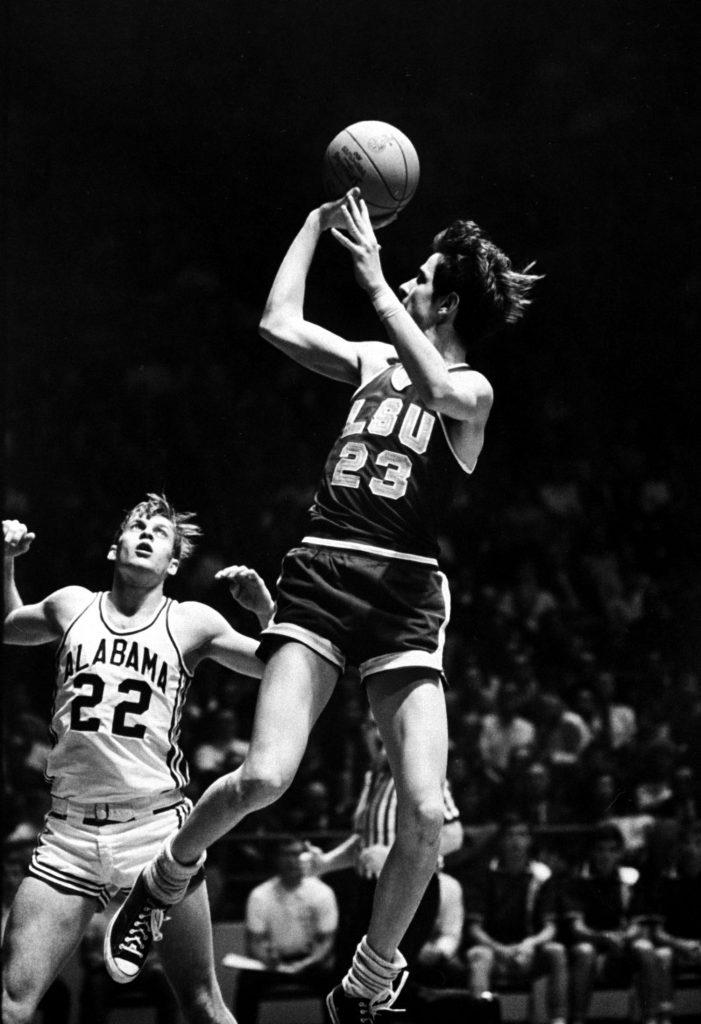 Pete Maravich (LSU) fires off a fade-away jumper against Alabama in 1969.