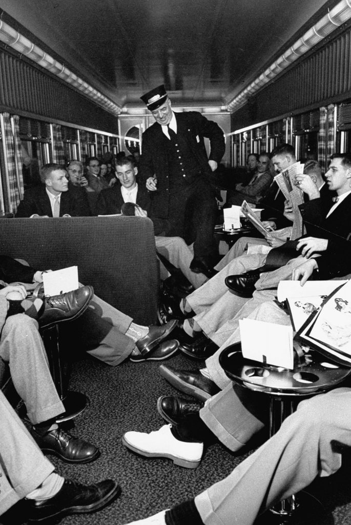 Oregon State Beavers travel by train, 1953.