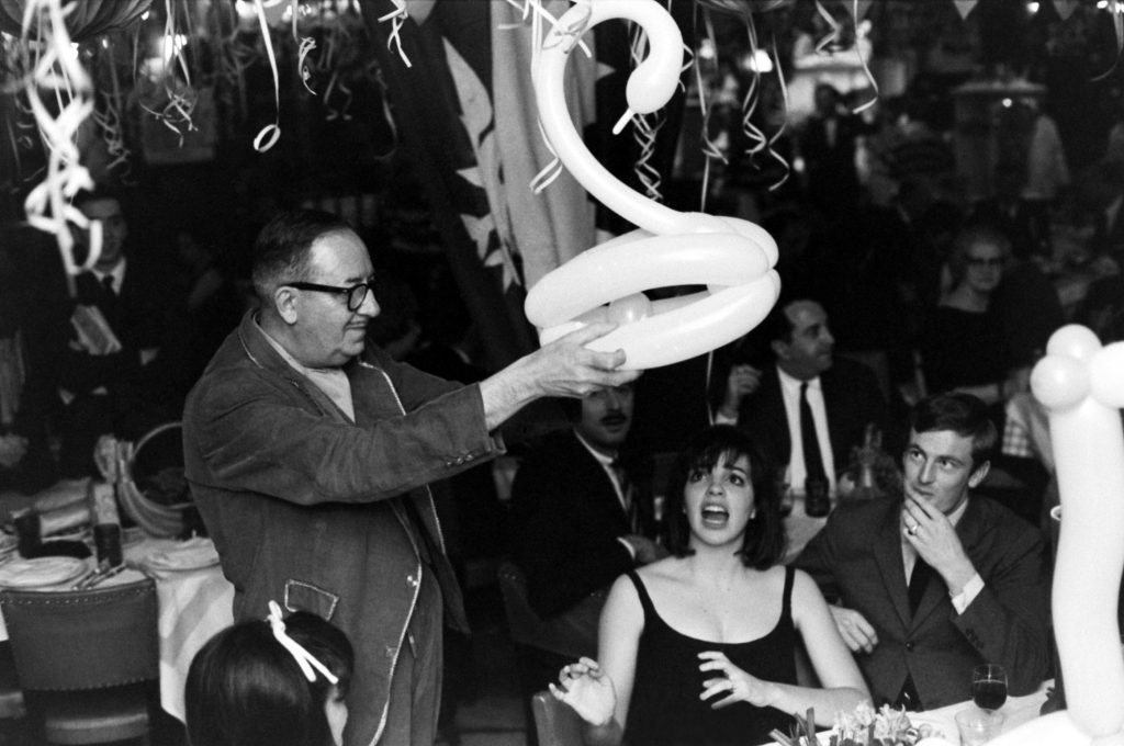 Liza Minnelli reacts as an unidentified well-wisher at her 19th birthday party presents her with a swan-shaped balloon.
