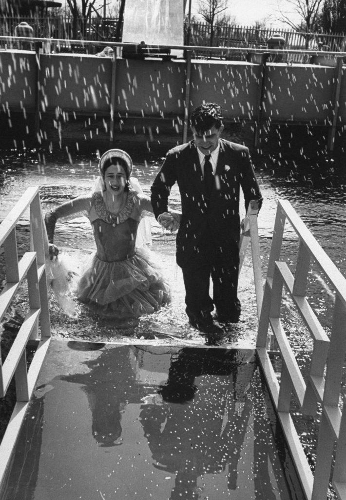 Rehearsal for an underwater wedding, San Marcos, Texas, 1954.