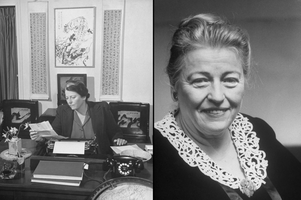 Pearl Buck at her desk in 1942 (left), and in 1956 (right). She was awarded the Nobel for Literature in 1938.